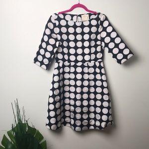 Kate spade black and silver polka dot dress sz 6